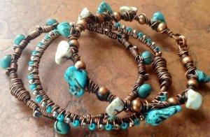 Oxidized Copper Bangle Set
