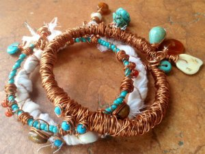 Boho Copper Wire Wrapped Bracelet Set