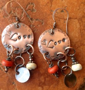Hammered Copper Love Dangle Earrings
