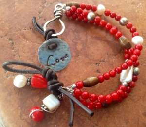 Triple Strand Red Coral Love Bracelet